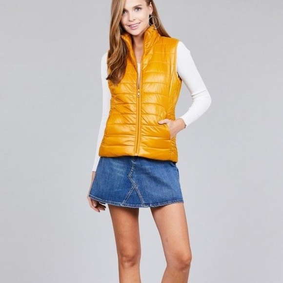 85f3d9a4b0 Active USA Jackets & Coats | Quilted Mustard Full Zip Padded Puff ...